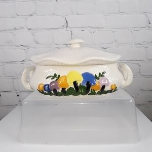 """VINTAGE Arnel's Magic Mushroom 12"""" Covered Dish"""